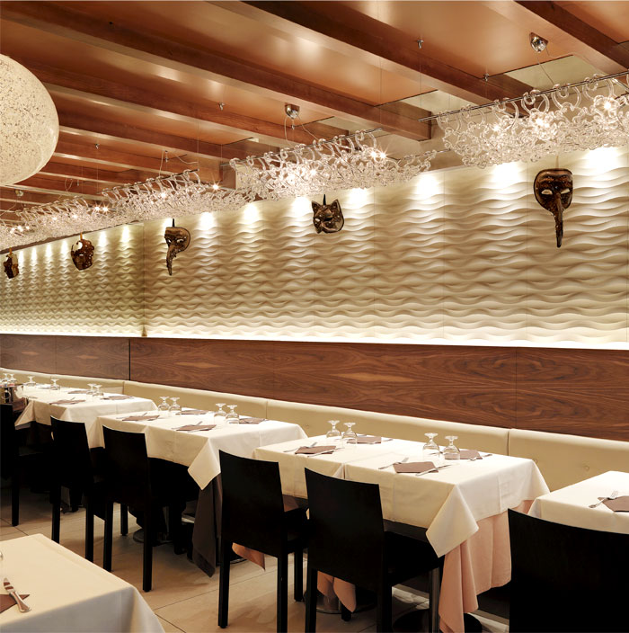 Traccia wall panel by lithos design at marciana restaurant in venice interiorzine - Restaurant wall decor ideas ...