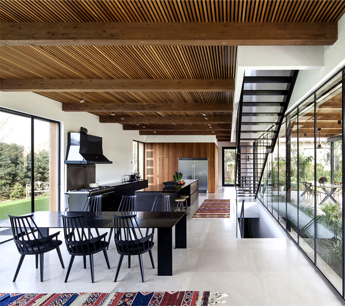 black-steel-cedar-panels-gray-concrete-interior-2