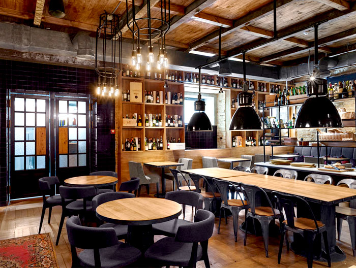 Bottega wine and tapas by kley design studio interiorzine for Photo de bar restaurant