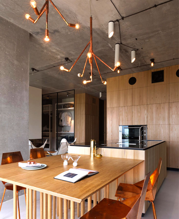Fresh Green Plants, Copper And Concrete At Apartment