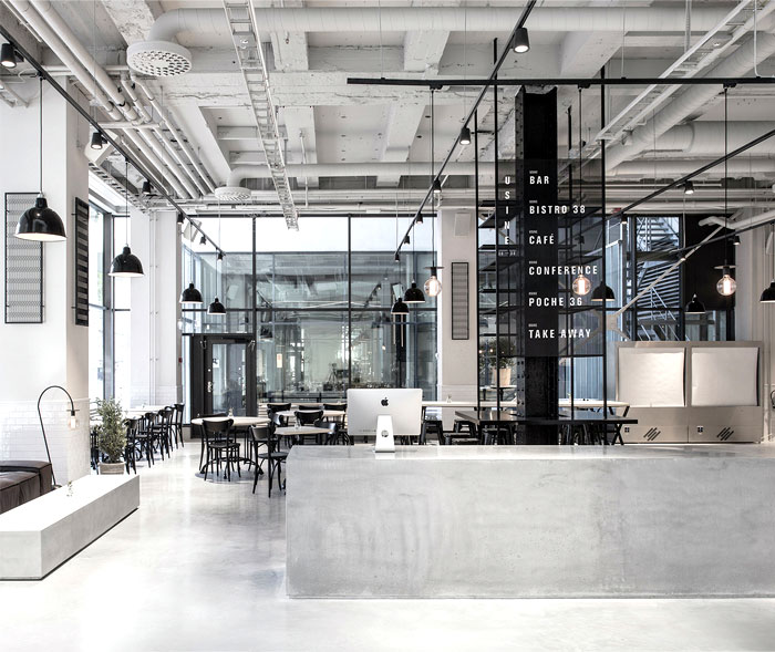 Scandinavian inspired minimalist restaurant decor - Cuisine style usine ...