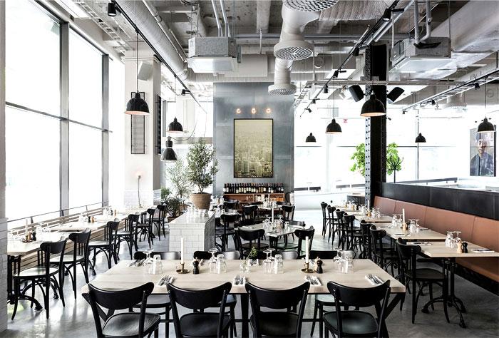 Scandinavian inspired minimalist restaurant decor for Industrial minimalist interior design