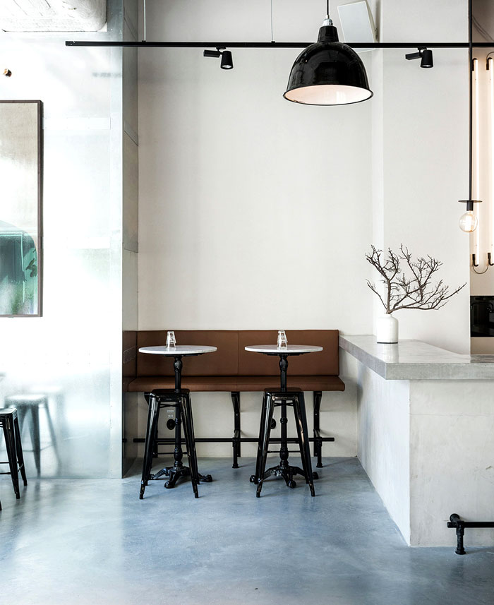 Scandinavian inspired minimalist restaurant decor