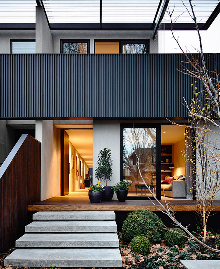 Excellent example of modern architecture typical for for Townhouse architecture designs