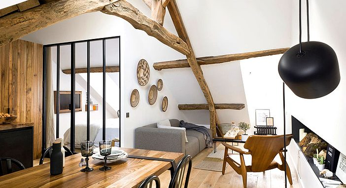 Loft in Paris With Exposed Wooden Beams by Margaux Beja