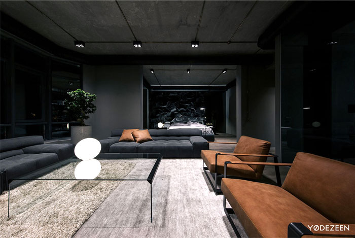 Trendy Dark Bachelor Apartment by YoDezeen