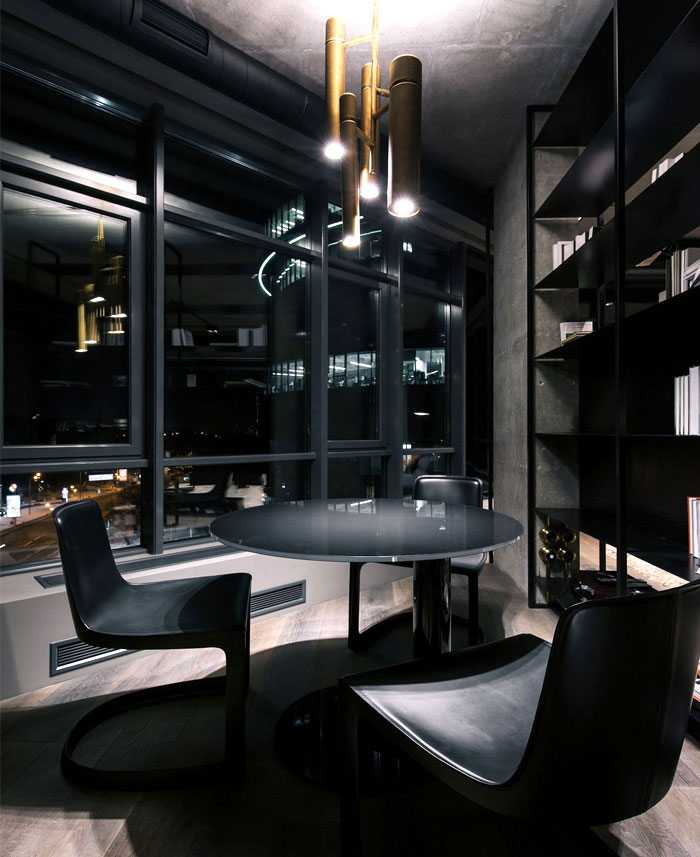 Trendy dark bachelor apartment by yodezeen interiorzine for Modern bachelor apartment