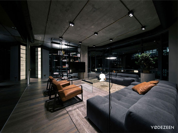 Trendy Dark Bachelor Apartment By Yodezeen Interiorzine