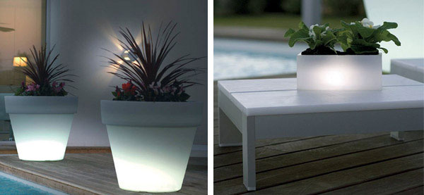 white light outdoor garden pots
