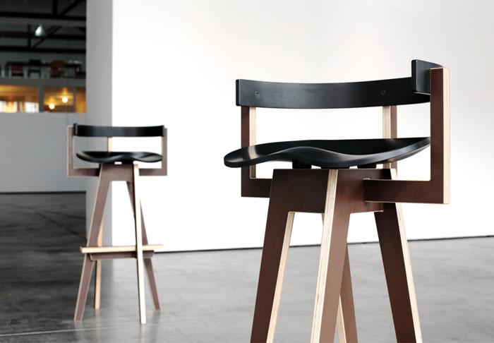 varnished birch plywood bar stool