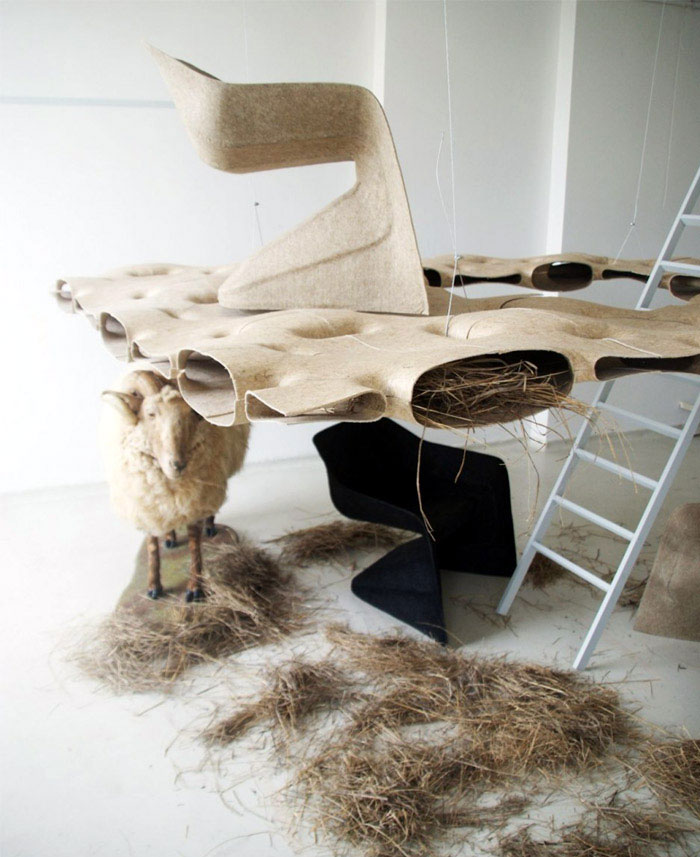 monobloc chair made of natural fibers
