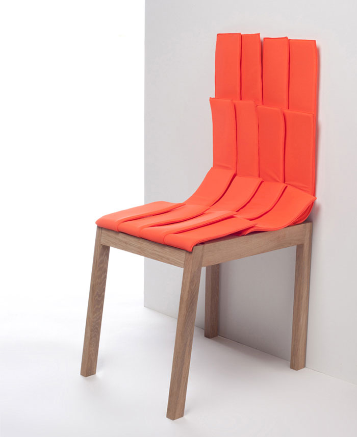 red textyle stool