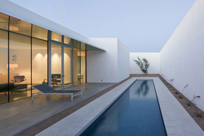 modern residence outdoor pool area