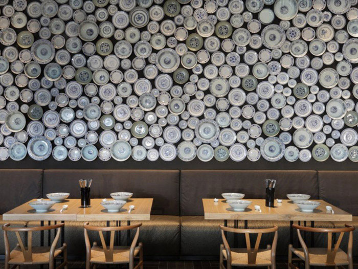taiwan noodle house wall with the noodle bowls