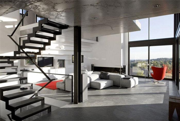 contemporary residence spain interior living area