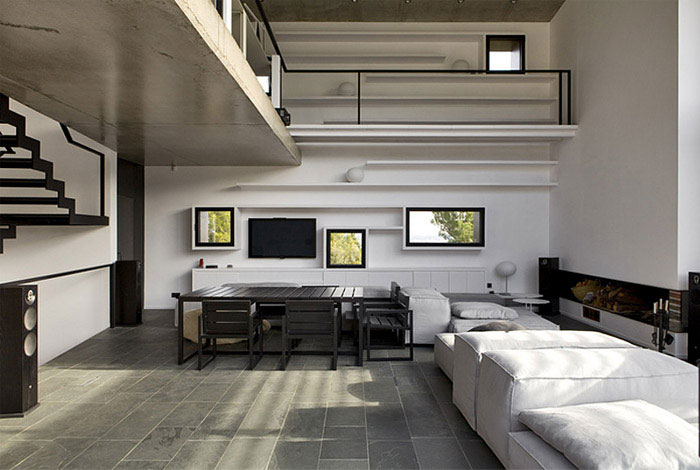contemporary residence spain interior living room