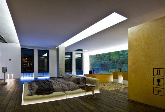 loft apartment warm concrete bed room