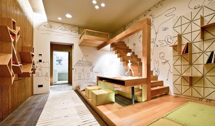 loft apartment warm concrete bedroom