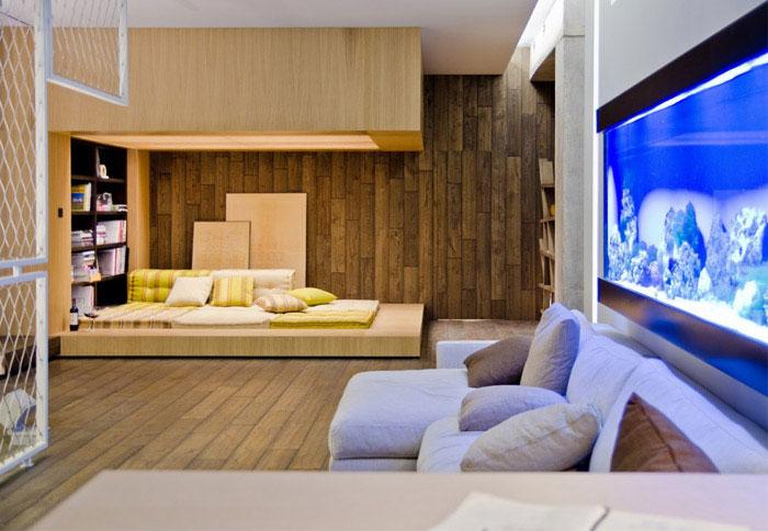 loft apartment warm concrete living room interior