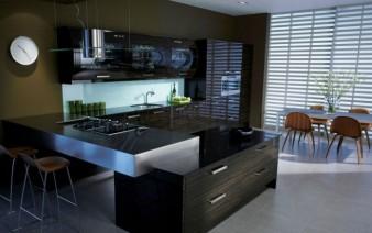 Dark modern style glossy kitchen 338x212