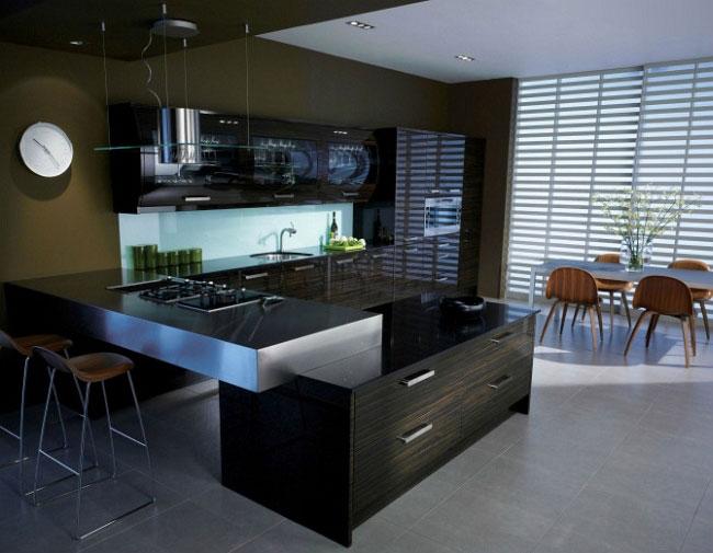 Dark modern style glossy kitchen