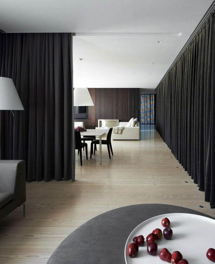 black curtains interior decor