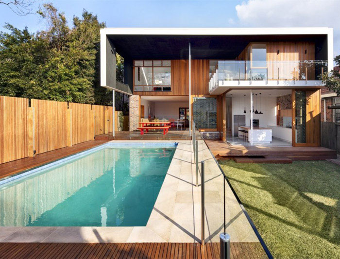 contemporary family home pool area