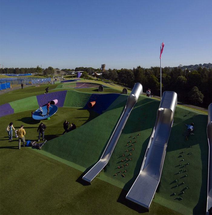 new playground tunnel slides