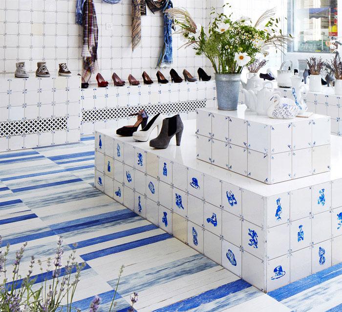 white blue parquet