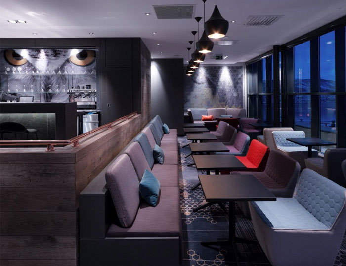 modern colourful hotel interior decor bar