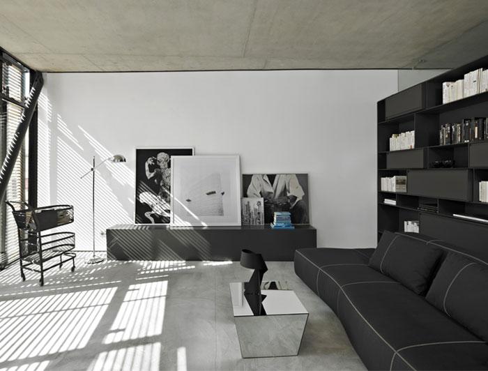 flat building living room interior
