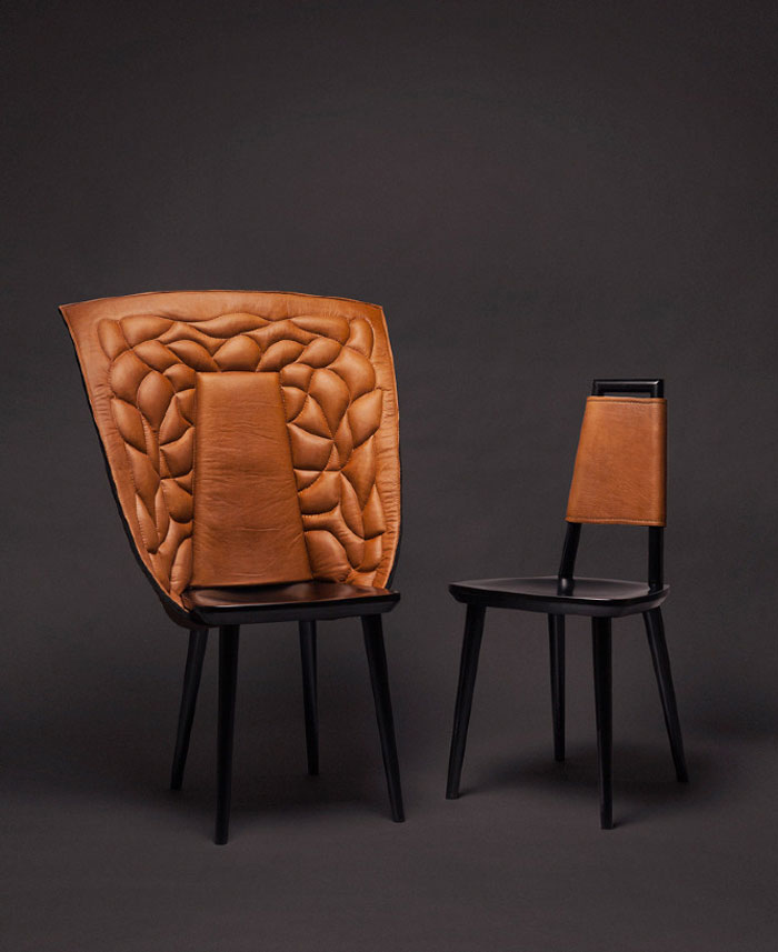 chair with garments
