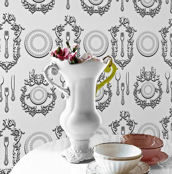 wallcovering silhouettes victorian tableware