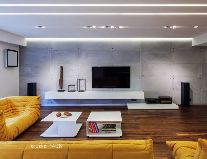 contemporary designed apartment big yellow couch