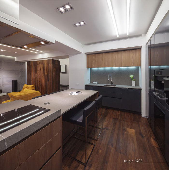 contemporary designed apartment kitchen