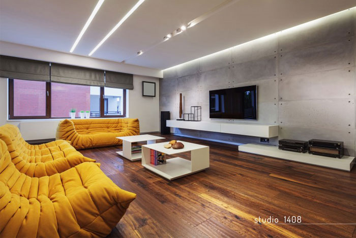 Dark, Deep Colored Contemporary Apartment , InteriorZine