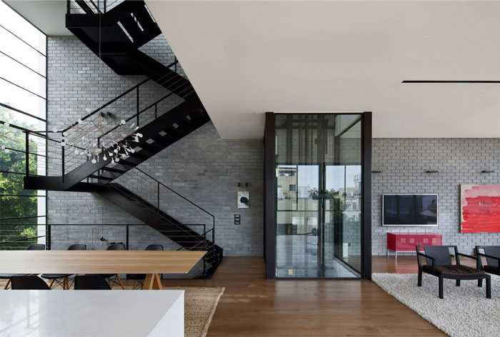 living room interior large metal staircase6