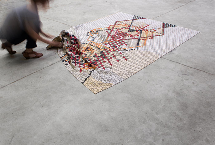 puzzle rug wood textile