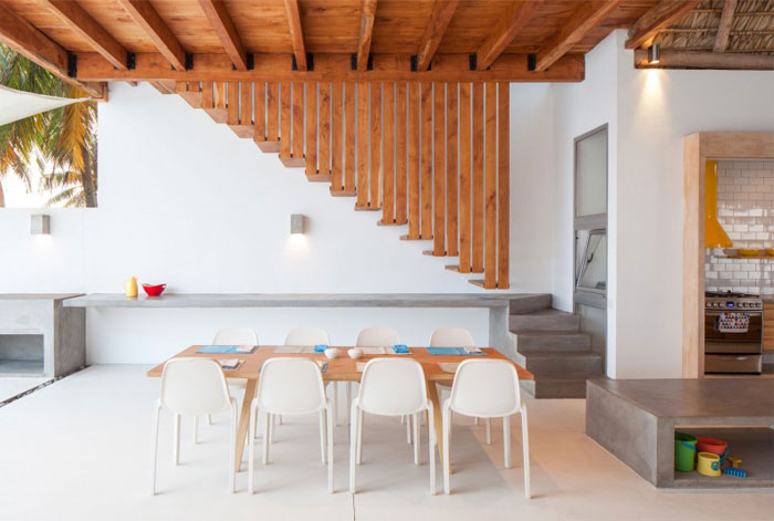 beach house wooden staircase