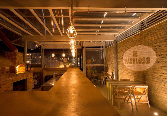 rooftop bar rustic materials modern way