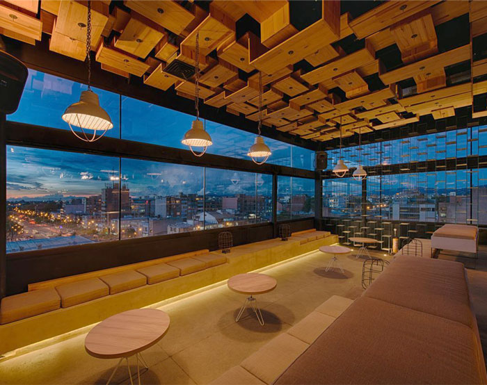 rooftop bar rustic wooden elements