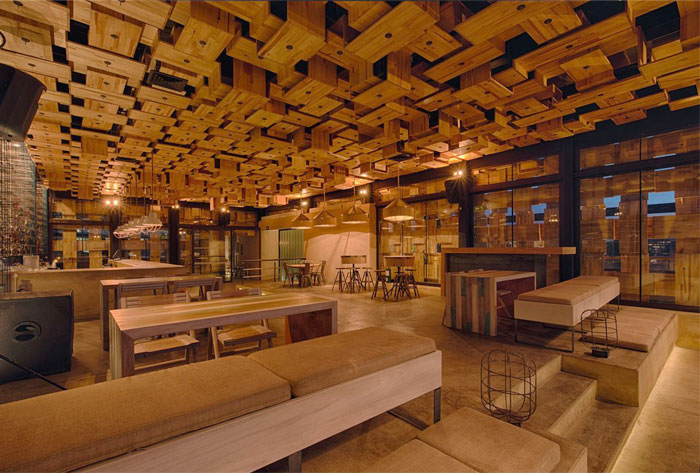 rooftop bar wooden acoustic elements
