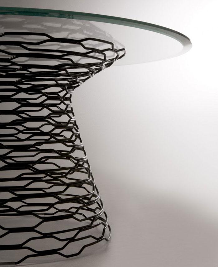 steel net baze glass top