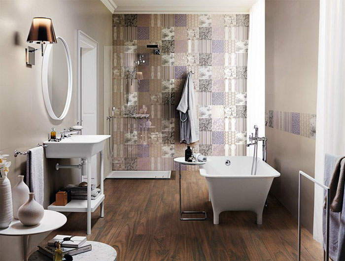 beige colour trend bathroom wallcovering