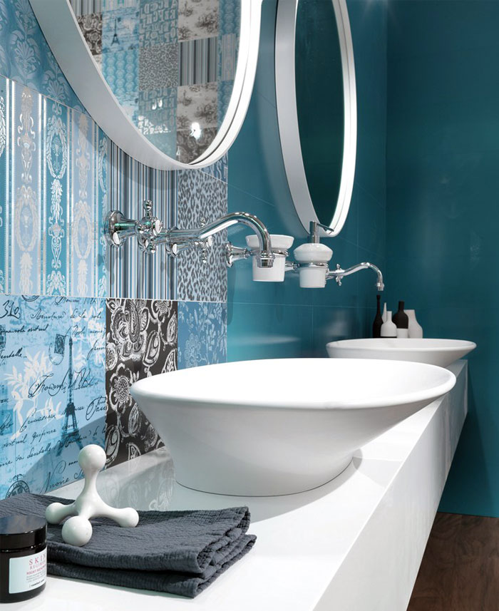 blue colored wall tiles