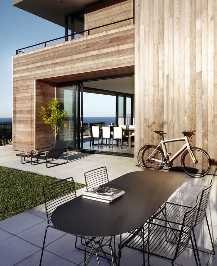 cedar cladded house garden