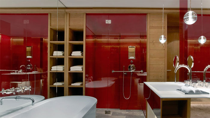 contemporary modern wood decor bathroom