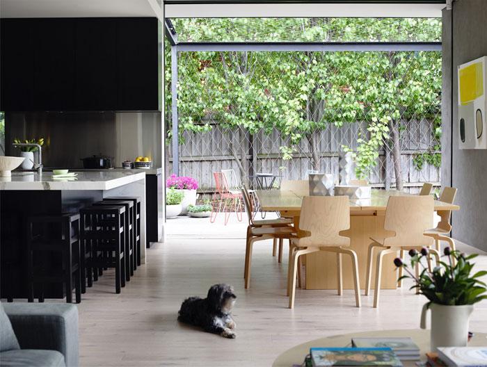 elegant interior design kitchen entirely black veneer