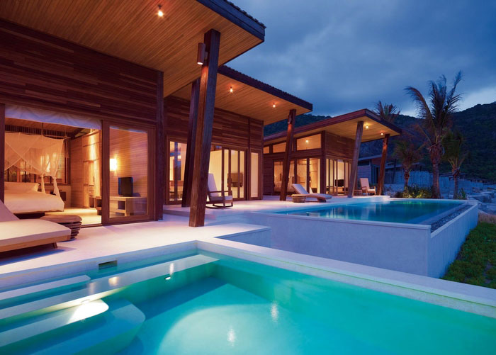 elegant resort pool area