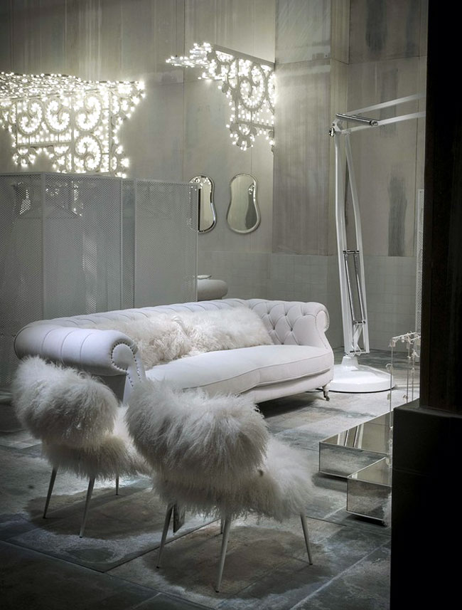 large deco inspired leather sofa spiral armrests